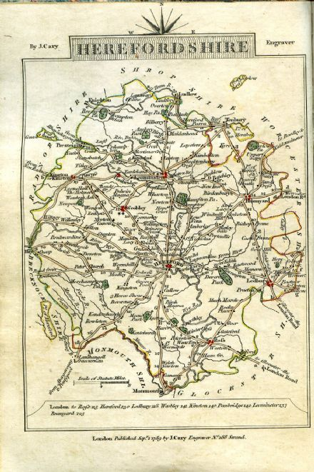 Herefordshire County Map by John Cary 1790 - Reproduction